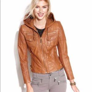 ✨ MICHAEL Michael Kors Tan Leather Hooded Jacket
